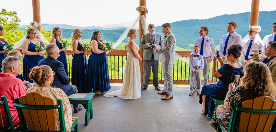 Great Smoky Mountains, Pigeon Forge, TN outdoor deck wedding photography by Bryan Aleman