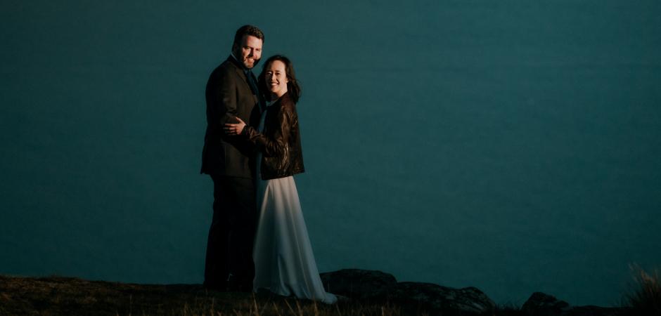 Portret van een bruiloft in Christchurch, NZ. Fotografie door Liz Robson