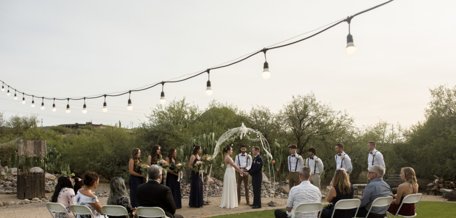 A Small Arizona Rental Home Backyard Wedding Ceremony - Photography by Laura Segall