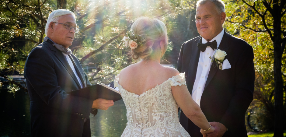Outdoor garden wedding ceremony image from the Broadmoor Hotel in Colorado Springs, Colorado - Elopement photo by Kent Meireis