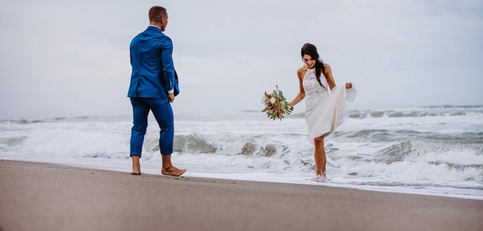A romantic portrait of the bride and groom from a Fattoria La Principina / Fiumara Beach, Grosseto, Tuscany, Italy Elopement - Photo by Federico Pannacci