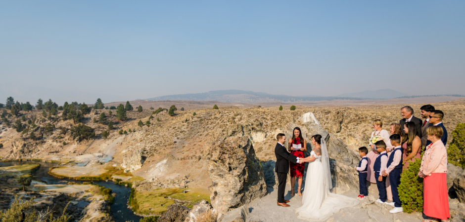 Outdoor wedding ceremony image from a Mammoth Lake, California Airbnb Vacation Rental Home Elopement - Photo by Tyler Vu