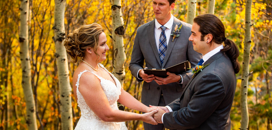 Outdoor small wedding image from a Mountain Adventure Elopement - Photography by Lucy Schultz