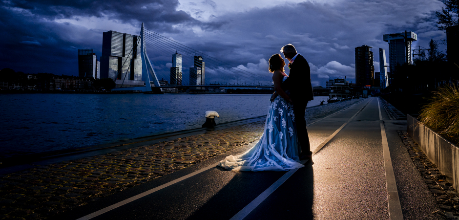 Rotterdam, NL, Boompjes Blue Hour Elopement Couple Portrait Image by Karin Keesmaat