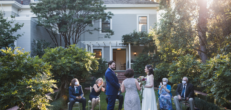 Outdoor wedding image from an Elopement ceremony - Photography by Drew Bird