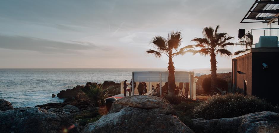 Seaside, outdoor beach wedding image from a Farol Hotel Venue, Cascais, Lisbon, Portugal Elopement - Photo by Carlos Porfírio