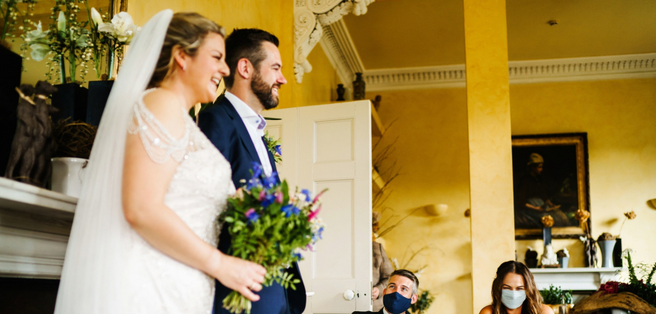 Wedding image of the bride and groom at the Gunthorpe Hall Venue, North Norfolk, UK - Elopement Photo by Rob Dodsworth