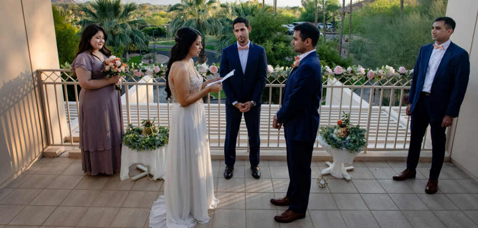 AZ couple wedding image from balcony marriage ceremony at the Phoenician Resort in Scottsdale - Elopement Photography by Laura Segall