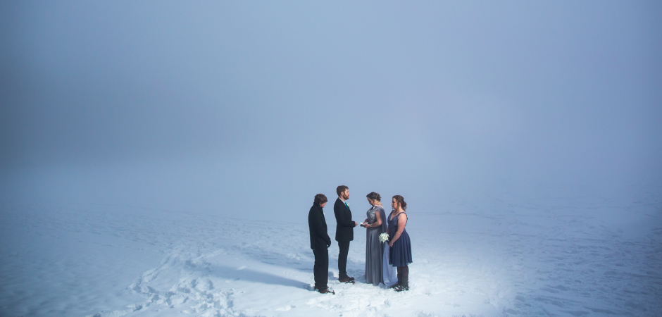 A winter wedding image from Bear Lake, Rocky Mountain National Park, Estes Park Colorado - Elopement Photo by Lucy Schultz