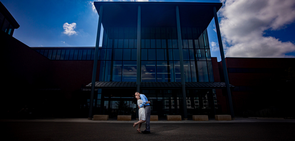 Couple wedding portrait from outside the Ridgedale Courthouse, Minnetonka, MN
