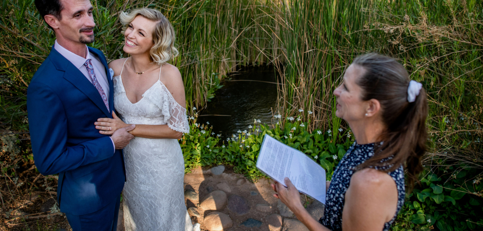 Outdoor wedding ceremony image from a venue called Desert Botanical Garden in Phoenix, AZ - Elopement Photography by Laura Segall