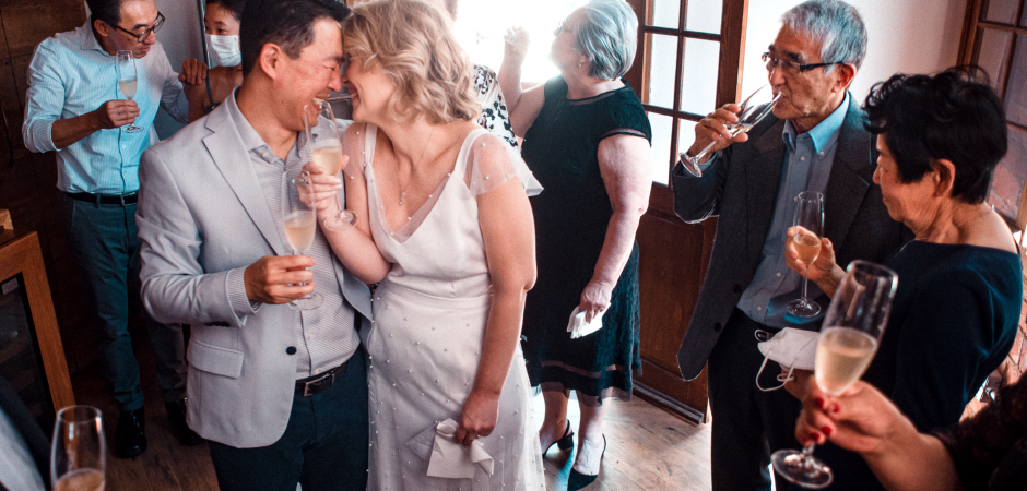 Intimate wedding toasting pic from Casaria Restaurant venue in São Paulo, Brazil - Elopement Image by Thiago Gimenes