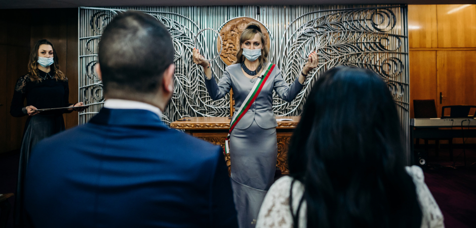 Una foto de matrimonio de una ceremonia en el ayuntamiento de Sofía, Bulgaria - Foto de fuga de Ivelina Cholakova