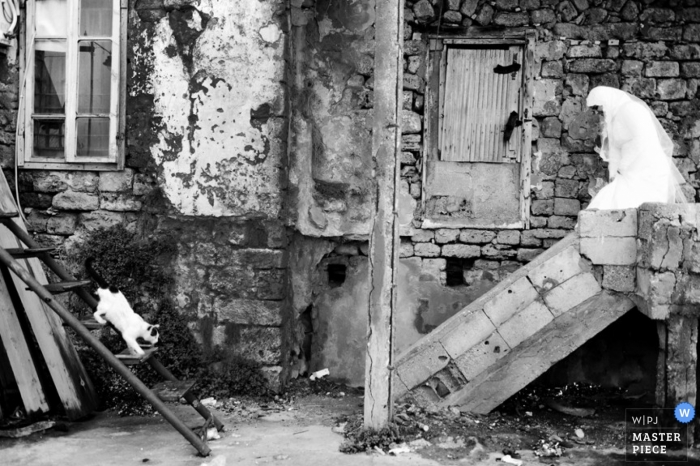 Lebanon wedding photographer captured this black and white photo of the bride walking down stone stairs in an alley in the Middle East