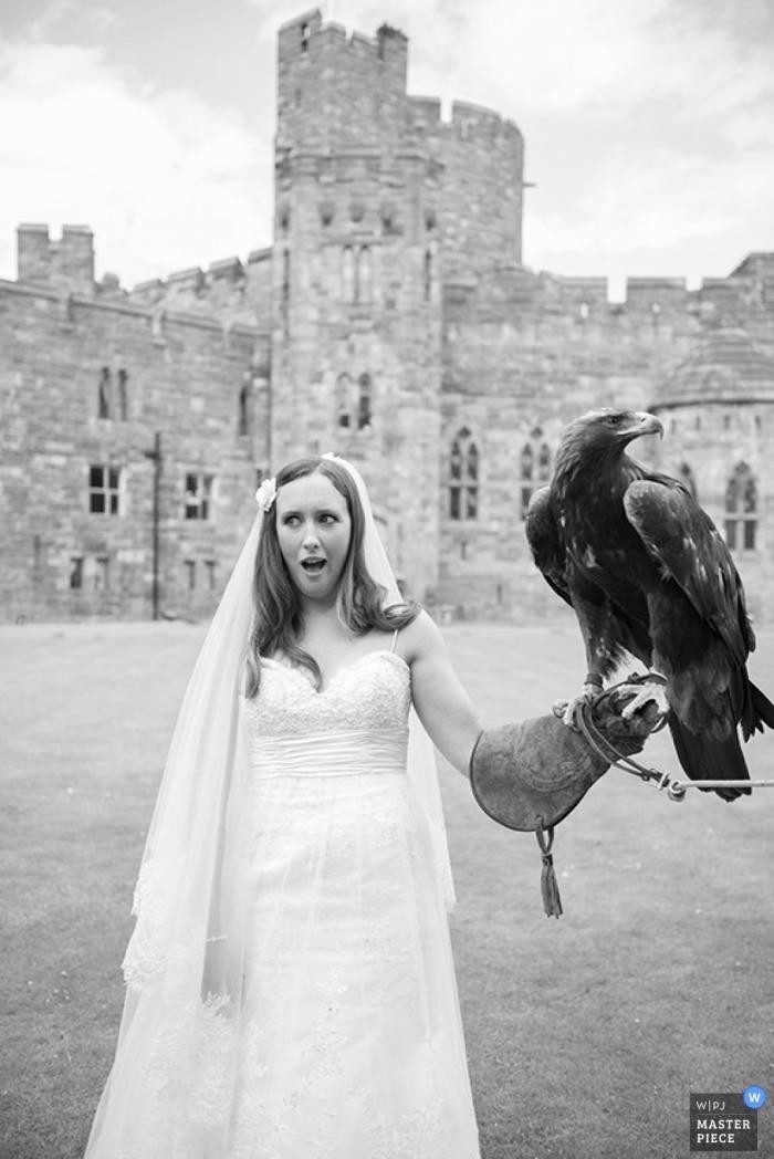 Hampshire Documentary Wedding Photographer   Image contains: bride, castle, outdoors, eagle, black, white, dress