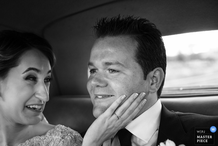 Madrid Wedding Photographer   Image contains: bride, groom, black and white, car