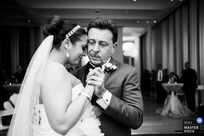 Raleigh Documentary Wedding Photographer | Image contains: bride, father of the bride, father and daughter, dance, reception, emotional