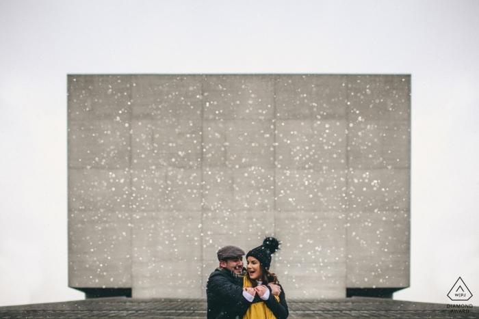 Derbyshire Engagement Photographer. Industrial and symmetrical pre-wedding portraits.