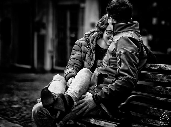 La Spezia Engagement Photography. Black and white portrait session at the park for this couple.