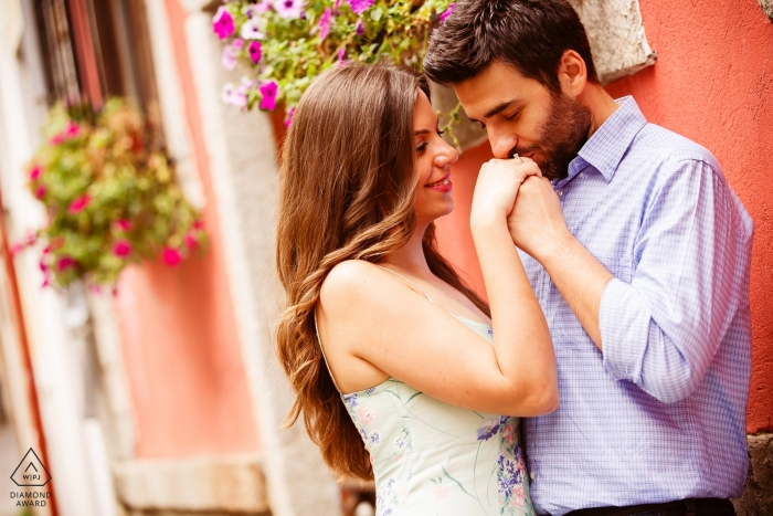 Greece Engagement Photographer | Kiss to her hand