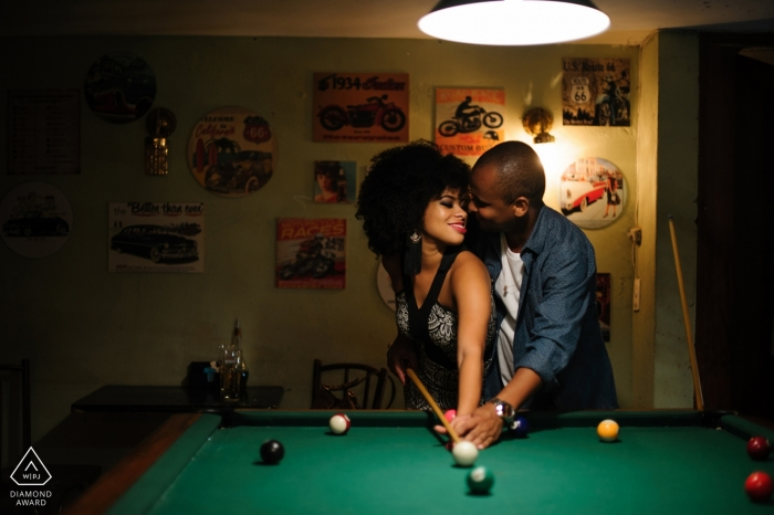Brasília, Federal District Wedding Engagement Photography with a couple playing pool
