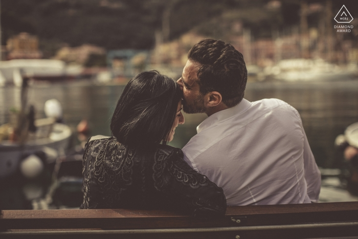 Liguria couple during a waterside engagement session