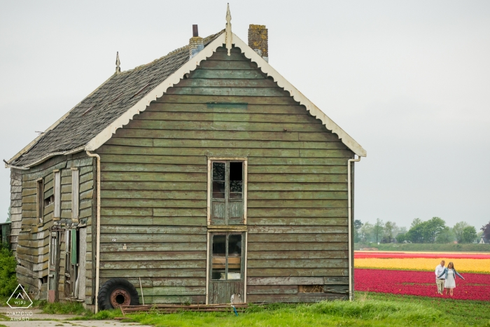 An old Netherlands farmhouse Grace this colorful portrait for an engaged couple