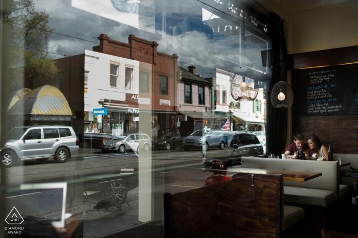 Melbourne - Victoria, Australia wedding engagement photos in a diner / coffee shop