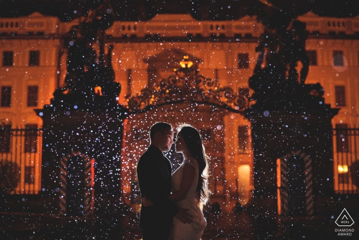 An engagement session in the rain at Prague Castle