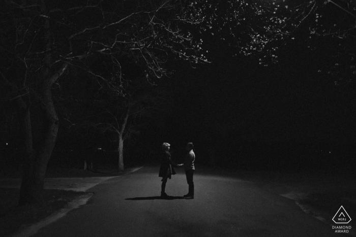Portland, Maine Engagement Shoot at Night under Street Light