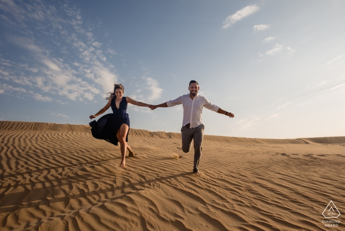 United Arab Emirates Desert Engagement Photo Shoot in the Sand