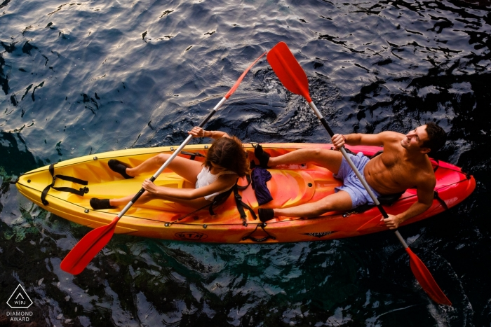 Alicante, Valencia kayak engagement portrait session on the water