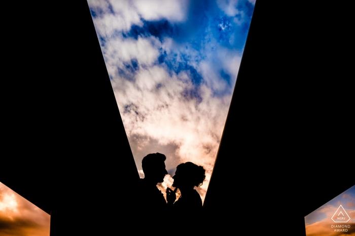 Vietnam engagement images of a couple under the highway bridges | pre-wedding session for portraits