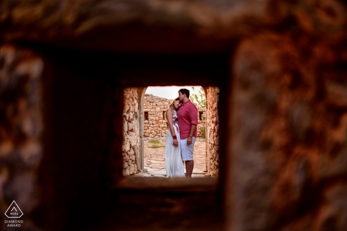 Portrait of a couple hugging in Kefalonia Greece during e-session photography