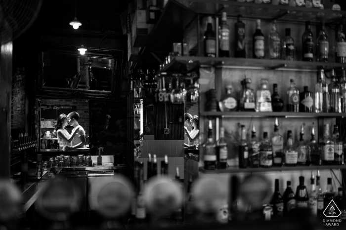 Victoria engagement pictures of a couple in a bar setting | Australia photographer pre-wedding shoot with photographer
