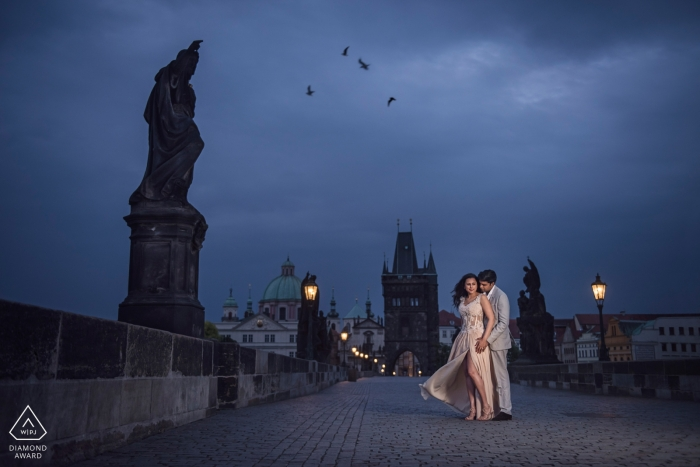 Outdoor dusk portrait session by London Engagement Photographer