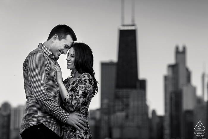 Engagement portrait session at North Ave. Beach, ChicagoIllinois
