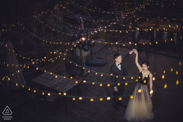Fujian, China Pre-Wedding Engagement Portraits with strings of lights