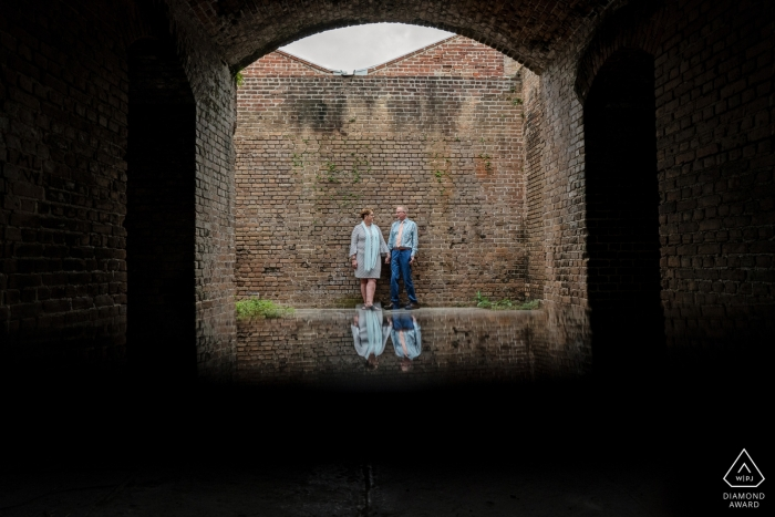 Florida Key West Fortress Reflections during engagement portraits