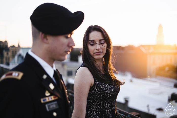 Savannah GA Military couple during prewedding portrait shoot session at sunset