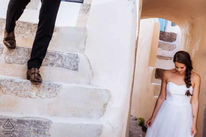 Santorini, Greece Pre Wedding Portraits on the stucco steps