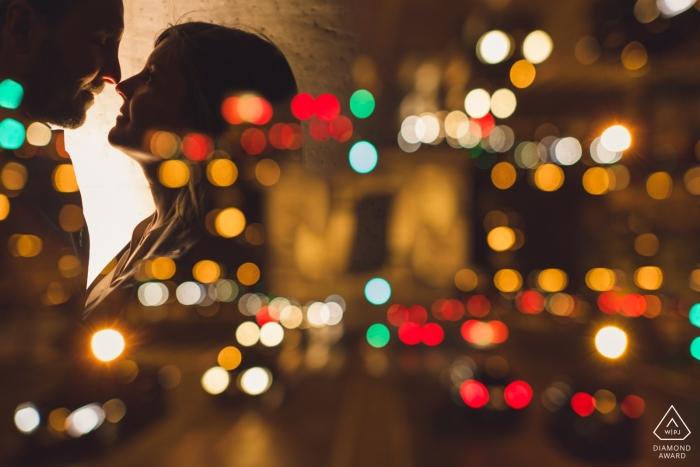 Paris Bokeh Pre-Wedding Shoot with Couple at Night with Lights