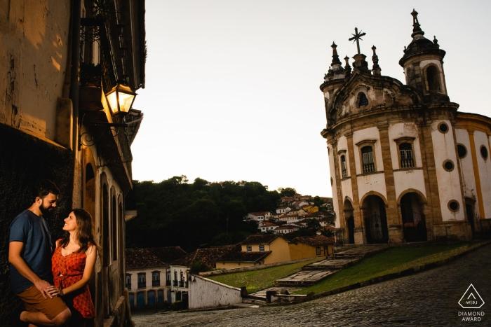 Brazil pre wedding portrait of a couple near a church - Ouro Preto