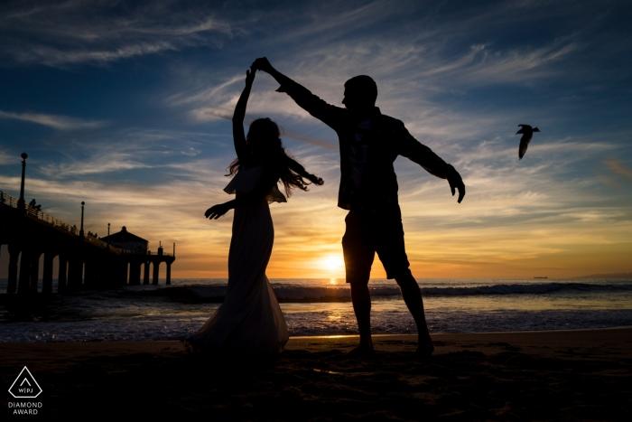 California Manhattan Beach - Let's dance on the beach during our engagement portraits
