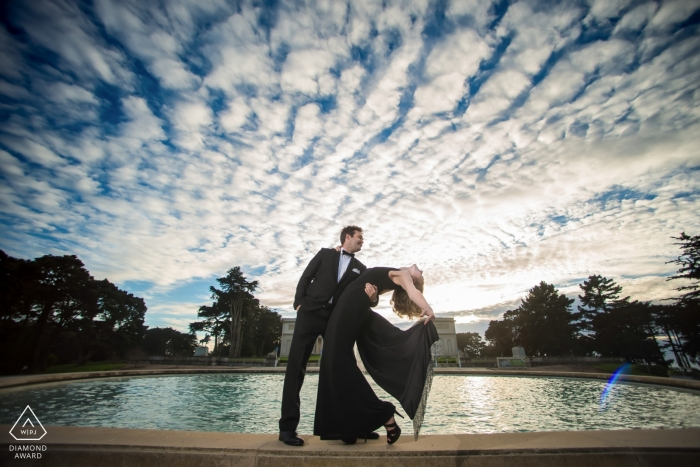 Legion of Honor engagement fun in formal attire - portrait session under the clouds