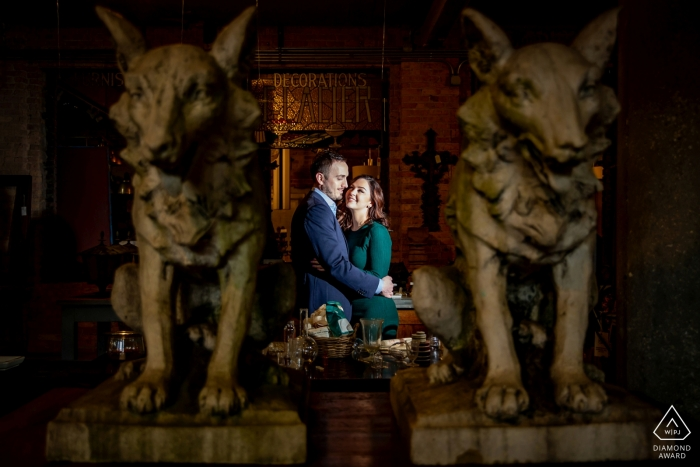 twin wolf statues - Illinois Engagement Photo Portrait