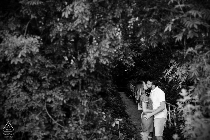 Whitstable engagement shoot in the trees, Kent, UK