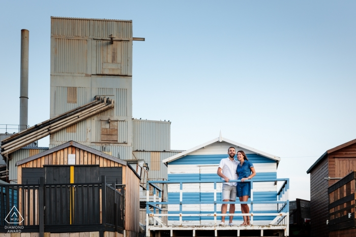 Whitstable industrial engagement session with a couple, Kent, UK