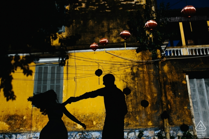 Pre-wedding silhouette portrait of a couple in Hoi An Vietnam