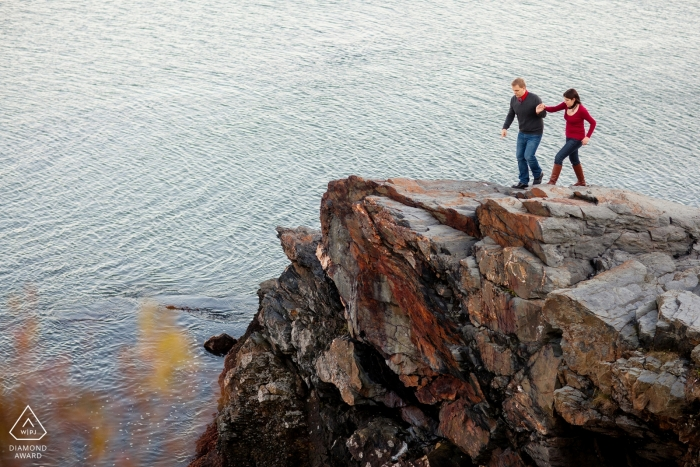 Couple on cliffs - Rhode Island Engagement Photo
